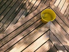 Raincatcher (MPnormaleye) Tags: backyard iphone bucket utata patio deck texture woodwork