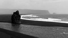 Iceland (Yann OG) Tags: iceland islande ísland icelandic islandais dyrhólaey sablenoir blacksand beach nb bw noiretblanc blackandwhite monochrome reynisdrangar rocher falaise vague wave mer sea ocean vik reynisfjara suðurland paysage landscape macareux puffin oiseau