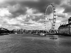 View from Westminster Bridge (grahamzzzz) Tags: monochrome londoneye riverthames london thames westminsterbridge