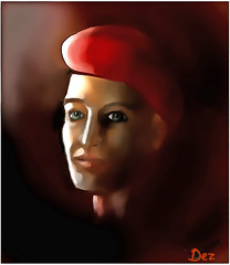 MAN IN RED BERET (Derek Hyamson) Tags: portrait man youngman red hat beret digitalpainting pse8 classicpainter stylus wacom tablet shadow