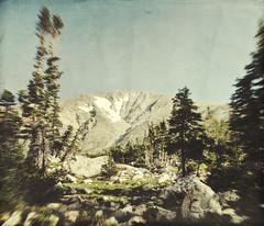 one peak (jssteak) Tags: canon t1i mountain peak snow forest trees pine rocks aged vintage indianpeakswilderness bluelaketrail
