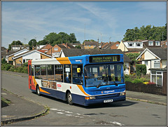 34592, The Willows (Jason 87030) Tags: stagecoach midlands daventry northants northamptonshire hosues estate thewillows rugby d4 11 july 2017 summer transbus dart slf pointer sunny sony alpha a6000 ilce nex publictransport blue white orange red vehicle kp04gzm 34592 roadside shot
