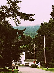 View from Number Seven 7/27/17 (dianecordell) Tags: home westmountain trees street quotes queensburyny fog mountains road travel mailbox july summer rain telephonepoles
