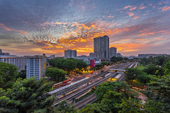 Sunset at Ang Mo Kio (BP Chua) Tags: singapore asia angmokio central sunset epic clouds sky landscape residential house shopping mall track railway mrt trees street road angmokiohub sony a7 urban city