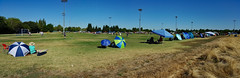 Suburban Soccer Game Panorama (oldhiker111) Tags: samsunggalaxys6 soccer park suburbia umbrellas awnings bright blue