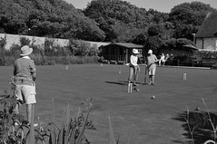Talk Tactics (G Reeves) Tags: nikon nikond300 garyreeves outside outdoor country countryside village rottingdean eastsussex blackwhite monochrome bw people sport team croquet