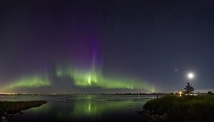 Weed Lake July 16 Aurora  Panorama (John Andersen (JPAndersen images)) Tags: aurora langdon moon night panorama weedlake