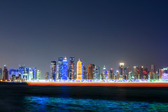ABM (Another Blue  Monday) / The skyline of Doha (Qatar) with a boat passing by. (Frans.Sellies) Tags: img6472 doha qatar الدوحة قطر
