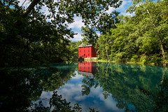 Reflections (KC Mike D.) Tags: alleyspring alleymill mill spring red colors limestone eminence missouri ozarkscenicriverways ozarks riverway water pool green blue reflection reflections visitmo hiking