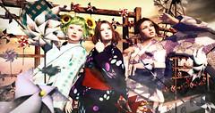 風 花 かしまし (marinosandalwood) Tags: secondlife kimono yukata japanese kazaguruma