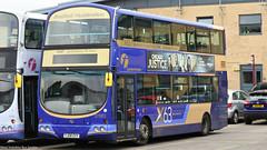 First Bradford YJ08 GVV 37083 (WY Bus Spotter) Tags: first bradford yj08gvv 37083 volvo b9tl wright eclipse gemini x63 west yorkshire bus spotter wybs huddersfield depot livery blue gold express brighouse transport