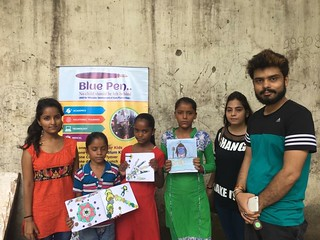 Beautiful paintings displayed by three sisters Kusum, Komal and Neha with three new volunteers  of Blue Pen:- Kavita choudhary, Komal and Mayank...Safdarjung slum, 23.7.2017 at (11-12PM)