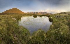 Nantlle Ridge Panorama (Ffotograffiaeth Dylan Arnold Photography) Tags: lake water nantlleridge wales cymru snowdonia eryri outdoors sunset hills mountains glow heather pond countryside peaks summits marshland green magenta purple yellow orange clouds sky blue panorama panoramic wideangle canoneos6d canon1740mmf4l vanguard hoya calm peaceful serene still vista view