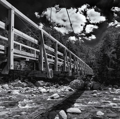 Lincoln Suspension Bridge (Tim Ravenscroft) Tags: suspension bridge whitemountains nh usa hasselblad x1d hasselbladx1d monochrome blackandwhite blackwhite