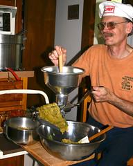 Chef (fillzees) Tags: selfie selfportrait self himself me myself person kitchen food equipment hat bowl indoor metallic metal shiny applesauce preparation cranking