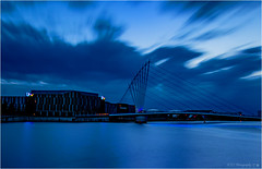 The Blue Hour (Fermat 48) Tags: manchestershipcanal itv televisionstudios mediacity footbridge bluehour le longexposure salfordquays