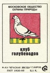 Moscow Society for the Protection of Nature: Pigeon Club (8/9) (The Paper Depository) Tags: matchbox matchboxlabel russia soviet sovietunion ussr conservation bird pigeon