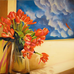 Painting within a painting - original (Marian Pollock (Weiler)) Tags: australia melbourne oil painting tulips vase art stilllife original flowers drawing colourful
