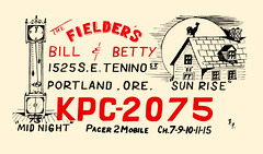 The Viking: Midnight & Sun Rise - Portland, Oregon (73sand88s by Cardboard America) Tags: theviking qsl qslcard cb cbradio vintage house clock