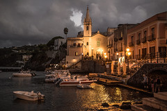 Lipari 4 (gsamie) Tags: 600d aeolianislands canon guillaumesamie italy rebelt3i sicilia sicily boats church gsamie harbour lights night sea