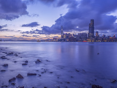 Twilight city (cyangLtravel) Tags: skyline purple urban sea clouds stones exposure magic scenery landscape dusk hongkong exposures