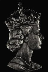 Queen Elizabeth II (Mark Wasteney) Tags: macromondays queen monarch monarchy ruler medal metal metallic hmm macro closeup upclose canon100mmf28 canon1dmkiv monochrome