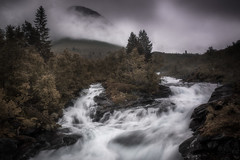 The Fall (andreassofus) Tags: norway scandinavia waterfall thefall trees sky clouds mood moody water mountain mist misty fog foggy summer summertime travel travelphotography sognfjordane forest woods outdoor hike hiking canon manfrotto