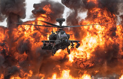 Wall of Fire (The Crewe Chronicler) Tags: ahdt apache westlandapache ah64 helicopter attackhelicopter westland raffairford fairford riat riat2017 canon canon7dmarkii aircraft airdisplay airshow walloffire aac armyaircorps armyhelicopterdisplayteam fire fireball aviation