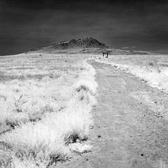 Volcano Cinder Cone (Ed Rosack) Tags: grass rock usa landscape desert ©edrosack vacation volcano clear infrared travel cloud path lava sky bw petroglyphsnationalmonument newmexico albuquerque mountain blackandwhite cloudy ir monochrome