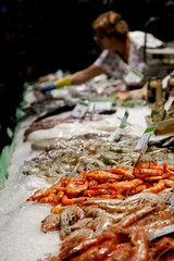 La Boqueria (DaveStrong) Tags: canon 5d mark 5dmarkii 5dii 5d2 5dmark2 markii mark2 2 ii 24105 24105mm 24105l 24105f4 24105mml spain barcelona summer holiday vacation street market food fish prawns squid oysters mussels raw ice display serve sell shop store stall