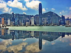 Hong Kong Skyline Reflection (gerard eder) Tags: world travel reise viajes asia eastasia harbour hafen harbor hongkong skyline skycraper reflections spiegelung outdoor