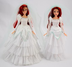Once Upon a Wedding Ariel (2011) vs Classic Wedding Ariel (2017) - Full Front View (drj1828) Tags: disneystore disneyclassicdollcollection ariel wedding 2017 disneyprincessclassicdollcollection 1112inch princess disney deboxed standing onceuponawedding 2011 groupphoto comparison sidebyside