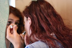 Eyes (davidecerrato) Tags: canon canon30d eos30d digital megapixels new girl red makeup sister night 50mmlens portrait mirror sorella home trucco 30d redhair eyes jeans girlportrait