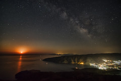 Moonrise and the Milky Way (n.pantazis) Tags: outdoors night nightphoto andros korthion korthi sky skyscape nightscape milkyway moon moonrise nightlights reflection reflections pentaxks2 tamron