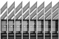 zigzag (morbs06) Tags: 2017 france nantes paysdelaloire abstract architecture building bw facade geometry light lines louvers office pattern repetition shadow stripes windows