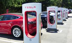 Tesla Charging (Wolfram Burner) Tags: san jose technology computers california tesla charging electric vehicles cars red station elon musk motors teslamotors wolfram burner wolframburner