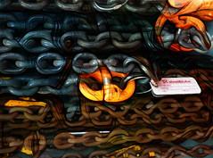 Steel & Tube (Steve Taylor (Photography)) Tags: keyring label chain art digital blue orange brown black white yellow strange metal plastic newzealand nz southisland canterbury christchurch texture steeltube steel