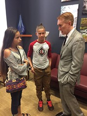 Casey Camp Horenik's grandchildren meet with Senator Lankford