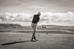 Tee Contre Jour.... (AJFpicturestore) Tags: hmm monochromemonday golf tee contrejour cornwall