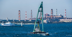 2017 - Japan - Yokohama - Floating Crane (Ted's photos - For Me & You) Tags: 2017 cropped japan nikon nikond750 nikonfx tedmcgrath tedsphotos vignetting yokohama tokyobay ship tug tugboat water cranes industrial boat