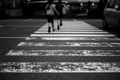 Running over stripes (Leica M6) (stefankamert) Tags: stefankamert stripes zebra crossing people running bw baw bnw noir noiretblanc blackandwhite blackwhite leica m6 leicam6 rangefinder voigtländer nokton kodak trix film analog grain blur