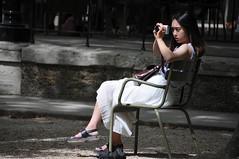 The Photographer - 2 (jeangrgoire_marin) Tags: candid photographer asian pretty lady summer garden tourist light focused elegant
