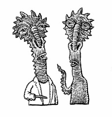 Martian conversation (Don Moyer) Tags: alien creature drawing ink sketchbook moyer donmoyer brushpen talk