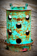 They've landed! (XoMEoX) Tags: alien green grün bohrkopf sony dscrx100m2 rx100m2 rx100 surreal drillinghead driling bohrung constructionsite baustelle drill scratches kratzer lomo red rot reddot kies kiesgrube hole holes löcher loch rust rost corrosion korrosion zylinder zylindrisch