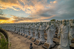 Sunrise at 500 Lohan Temple (BP Chua) Tags: bintan indonesia temple 500lohan statues 500 sunrise travel landscape sculpture canon wideangle samyang 14mm clouds composition asia