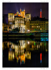 Fourvière at night (BerColly) Tags: france aura lyon fourviere night nuit riviere river saone lights reflets bercolly google flickr