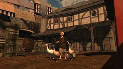 Simpler Times (alexandriabrangwin) Tags: alexandriabrangwin secondlife 3d cgi computer graphics virtual world photography time portal adventure tudor style old charm england city village town square chicken coop geese small child flock leading farmer houses homes smoke afternoon cobblestone