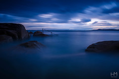 Forty Foot 20Jul2017 1-2 (Helen Mulvey) Tags: fortyfoot dublin ireland lastlight sunset dusk water sea coast tide waves longexposure dunlaoghaire tripod niko d5100 outdoor seascape landscape handrail ethereal sky cloudmovement cloud movement rocks hightide