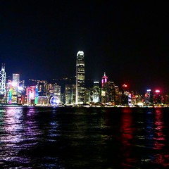 Hong Kong's skyline at night (danielhahn3) Tags: hongkong hongkongskyline hk night skyline skyscrapers city asia sea pacific lights reflections