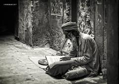 Varanasi B&N 07 (rokobilbo) Tags: varanasi india man thought color waiting ganges blackandwhite